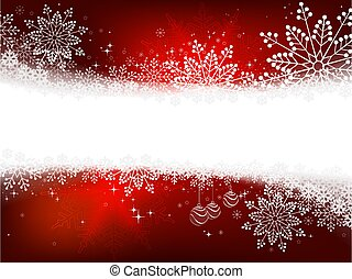 Christmas red design with a variety of white elegant snowflakes.