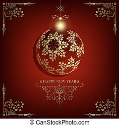 Christmas red design with ball and patterns