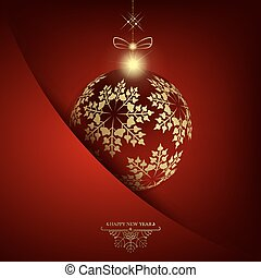 Christmas red design with ball with golden snowflakes