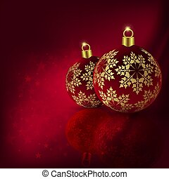 Christmas red design with beautiful balls with golden snowflakes