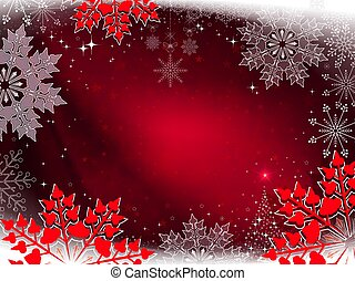 Christmas red design with beautiful white and red snowflakes