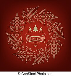 Christmas red design with Christmas tree and deers and snowflake
