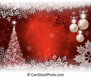 Christmas red design with Christmas tree, balls and snowflakes