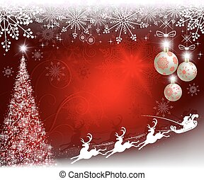 Christmas red design with Christmas tree, balls, snowflakes and Santa Claus on reindeer