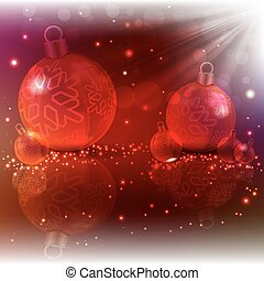 Christmas red design with glass balls and light beams