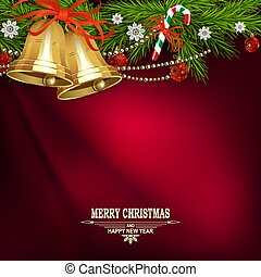Christmas red design with golden bells, spruce branches and a staff