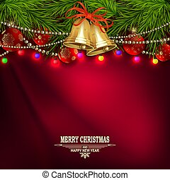 Christmas red design with golden bells, spruce branches and shining lights