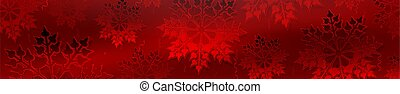 Christmas red design with gradient, gorgeous set of snowflakes