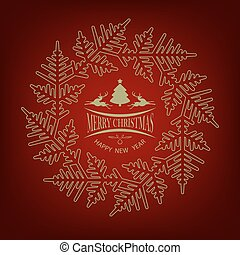 Christmas red design with herringbone and deer