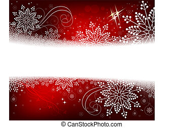 Christmas red design with numerous white, beautiful snowflakes.