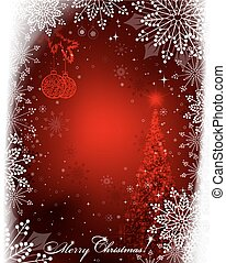 christmas red design with retro balls and christmas tree