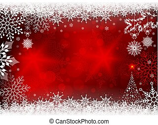 Christmas red design with snowflakes and a silhouette of a Christmas tree