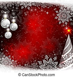 Christmas red design with white balls and snowflakes.