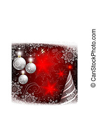Christmas red design with white balls and with spruce.