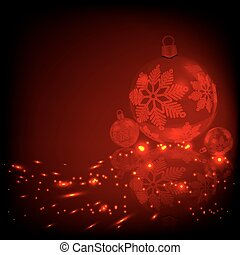 Christmas red, fire design with balls with snowflakes