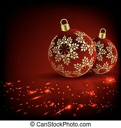 Christmas red, fire design with two balls and snowflakes