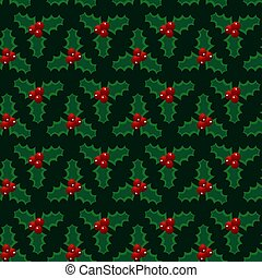 Christmas red green mistletoe seamless pattern