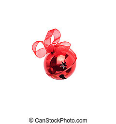 Christmas red jingle bell with ribbon isolated on white background