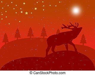 christmas red landscape