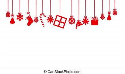 Christmas red ornament, art video illustration.