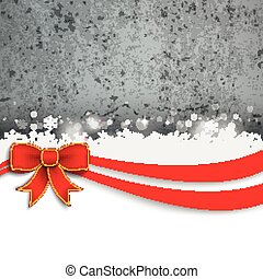 Christmas Red Ribbon Flyer Concrete - Christmas card with...