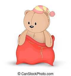 Christmas red sack with gifts and toys. Cute Christmas bag of Santa Claus. Isolated on a white background. Soft toy Teddy bear.