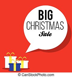 Christmas red sale banner with gift boxes