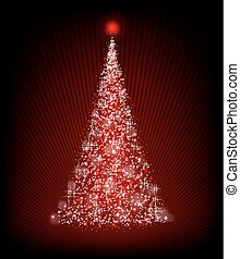 christmas red tree on a black background