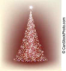 Christmas red tree with beige background
