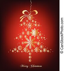Christmas red Tree with stars. Vector