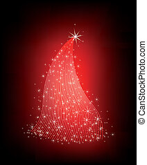 Christmas red tree with stars