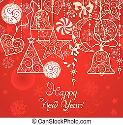 Christmas red wallpaper with hanging decoration