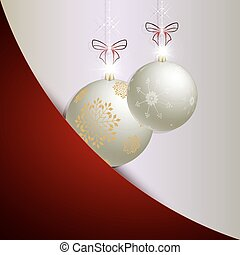 Christmas red, white design with two balls