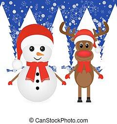 Christmas reindeer and a snowman