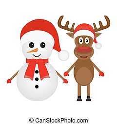 Christmas reindeer and snowman on a white background