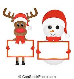 Christmas reindeer and snowman