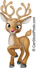 Christmas Reindeer Cartoon Character - A cartoon Christmas...