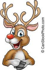 Christmas Reindeer Cartoon - A happy cartoon Christmas...