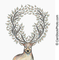 Christmas reindeer circle leaves composition EPS10 file.