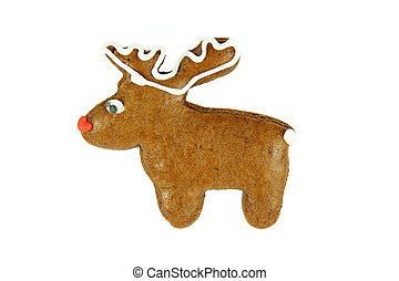 christmas reindeer gingerbread on white background