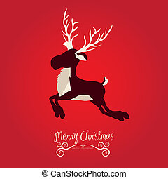 Christmas reindeer illustration on red background, vector...