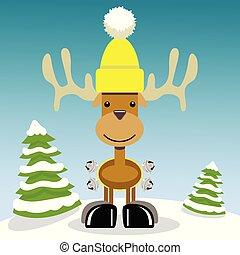 Christmas Reindeer in a snowy scene