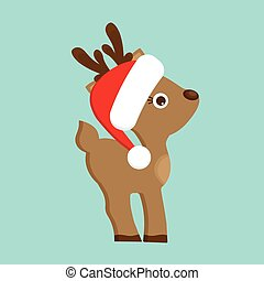 Christmas Reindeer in red hat