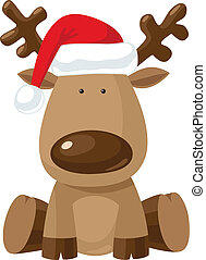 Christmas reindeer in Santa`s red hat