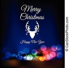Christmas reindeer on red bokeh background - Christmas ...