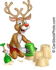 Christmas Reindeer on Summer Beach - Christmas cartoon of...