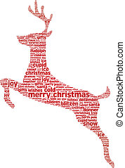 Reindeer christmas word illustration on white background.