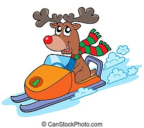 Christmas reindeer riding scooter - isolated illustration.