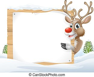 Christmas reindeer Sign - Cartoon reindeer Christmas Sign of...