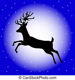 Christmas reindeer silhouette with moon and stars